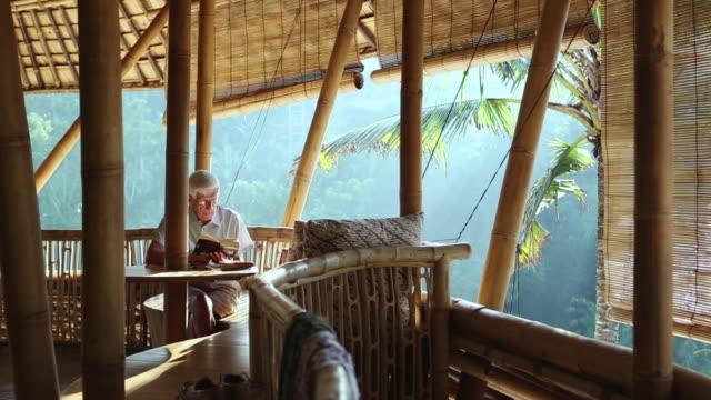 vídeos de stock e filmes b-roll de ms pan shot of senior man reading on bamboo porch / ubud, bali, indonesia - cabelo branco