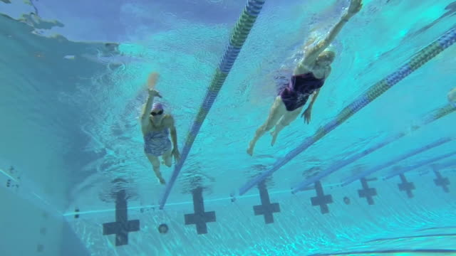 ms ts slo mo shot of senior women freestyle swimmers in lanes in underwater / davis, california, united states  - senior women stock videos & royalty-free footage