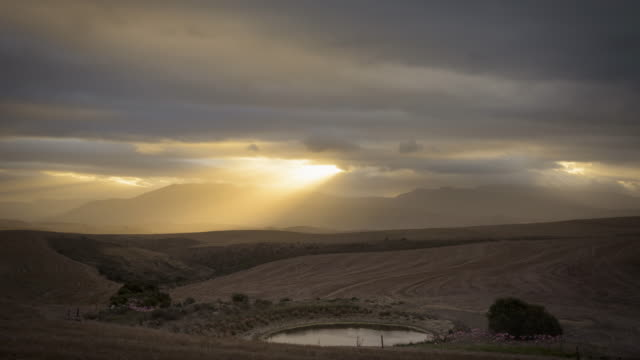 ws t/l shot of setting sun cast peeking through clouds over golden landscape / overberg, western cape, south africa - sunbeam stock videos & royalty-free footage