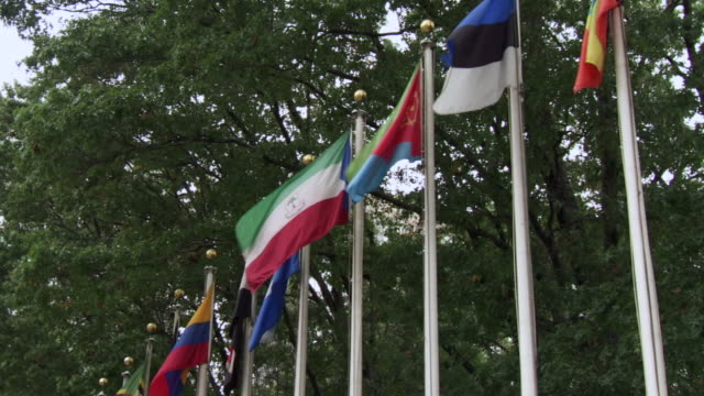MS LA Shot of several countries flying in front of the United Nations headquarters / New York, United States
