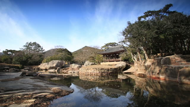 stockvideo's en b-roll-footage met shot of seyeonjeong gazebo in bogildo island - gazebo