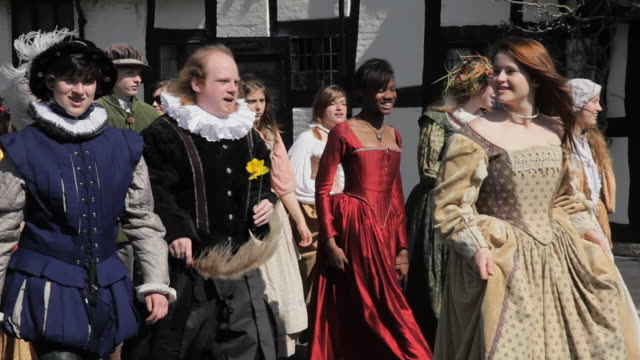 ms ts shot of shakespeare birthday celebrations with street parade / stratford upon avon, warwickshire, united kingdom - william shakespeare stock videos and b-roll footage