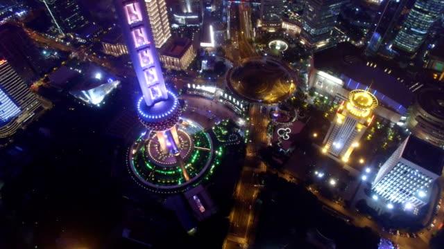 AERIAL shot of Shanghai cityscape and skyline at night/Shanghai,China
