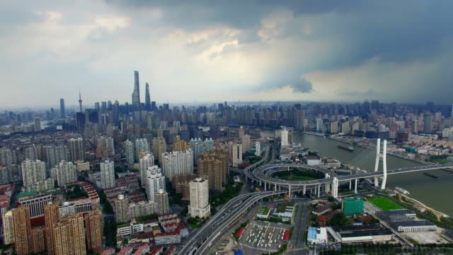 aerial shot of shanghai cityscape and skyline /shanghai,china - 上海環球金融中心点の映像素材/bロール