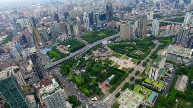 aerial shot of shanghai cityscape and skyline/shanghai,china - 上海点の映像素材/bロール