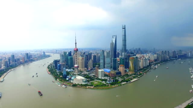 T/L AERIAL shot of Shanghai cityscape and skyline/Shanghai,China
