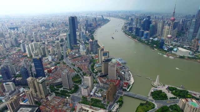 AERIAL shot of Shanghai cityscape and skyline/Shanghai,China
