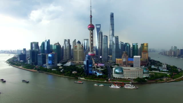 t/l aerial shot of shanghai cityscape and skyline/shanghai,china - oriental pearl tower shanghai stock videos & royalty-free footage