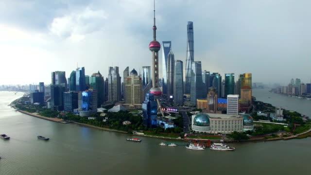 t/l aerial shot of shanghai cityscape and skyline/shanghai,china - 上海点の映像素材/bロール