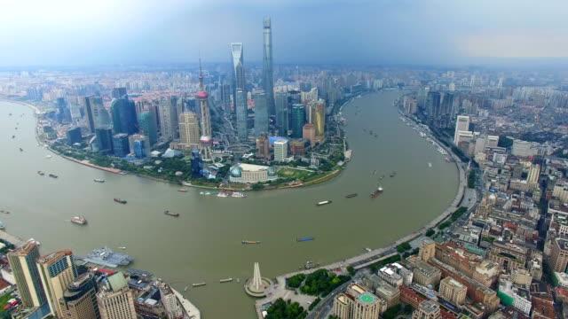 aerial shot of shanghai cityscape and skyline/shanghai,china - 東方明珠塔点の映像素材/bロール