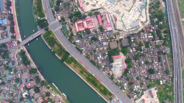 aerial shot of shanty town ,tianjin,china. - スラム街点の映像素材/bロール