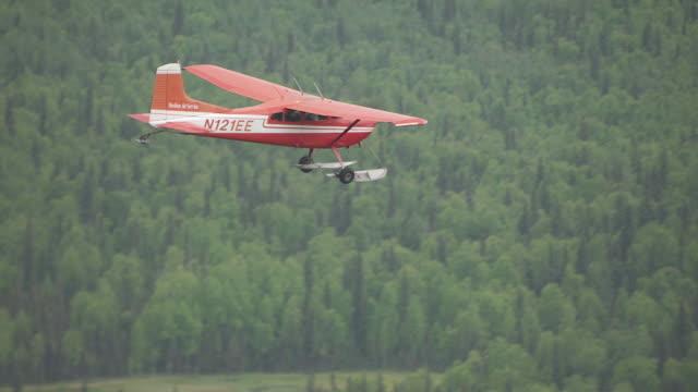 MS AERIAL TS Shot of Sheldon Air Cessna flying over forest near Talkeetna / Alaska, United States