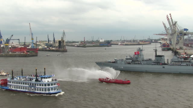 MS Shot of ship parade on Elbe river at harbour birthday / Hamburg, Germany
