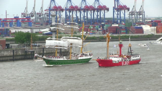 MS TS Shot of ship parade on Elbe river at harbour birthday / Hamburg, Germany