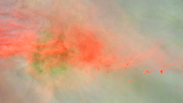CU SLO MO Shot of showing holi colors splashing up / Munich, Bavaria, Germany