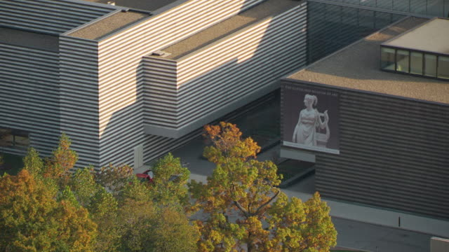 ms zo aerial shot of sign at back entrance of cleveland museum of art and museum building / cleveland, ohio, united states - cleveland ohio stock videos and b-roll footage