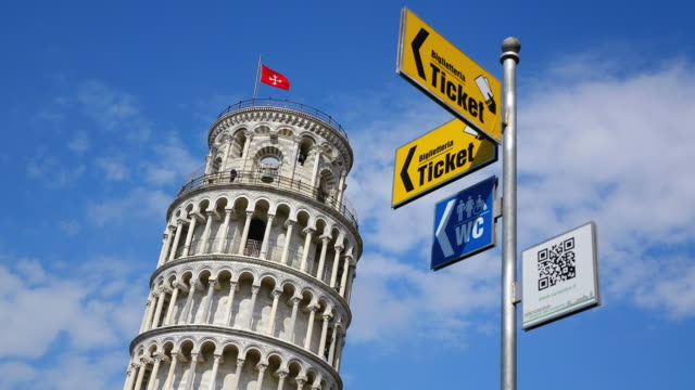 MS Shot of sign board with Leaning Tower of Pisa / Pisa, Tuscany, Italy