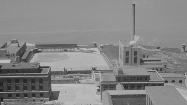 WS Shot of Sing Sing Prison building near Hudson River