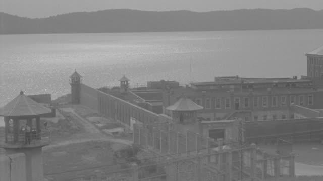 MS Shot of Sing Sing Prison building near Hudson River