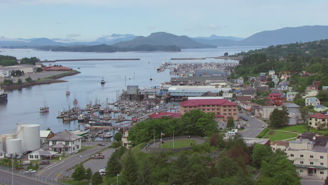 ms aerial zo shot of site of battle of sitka in 1804 at sitka national historical park and harbor / sitka, alaska, united states - major road stock videos & royalty-free footage