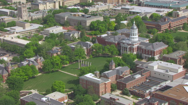 MS AERIAL TS ZI Shot of six columns at University of Missouri / Columbia, Missouri, United States