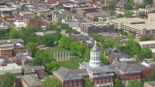 MS AERIAL ZO Shot of six columns at University of Missouri with Jesse Hall / Columbia, Missouri, United States