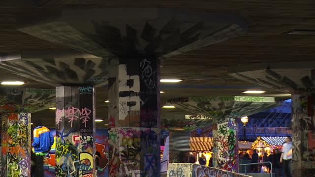 ms t/l shot of skaters at southbank skate park / london, united kingdom  - graffiti stock videos & royalty-free footage