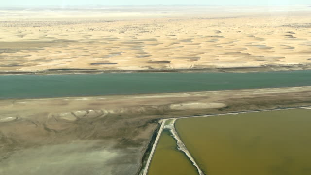 ws aerial shot of skelaton coast sand dunes and ocean water / swakopmund, erongo, namibia - wiese stock videos & royalty-free footage