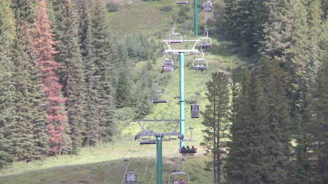 WS Shot of Ski lift chair / Banff National Park, Alberta, Canada