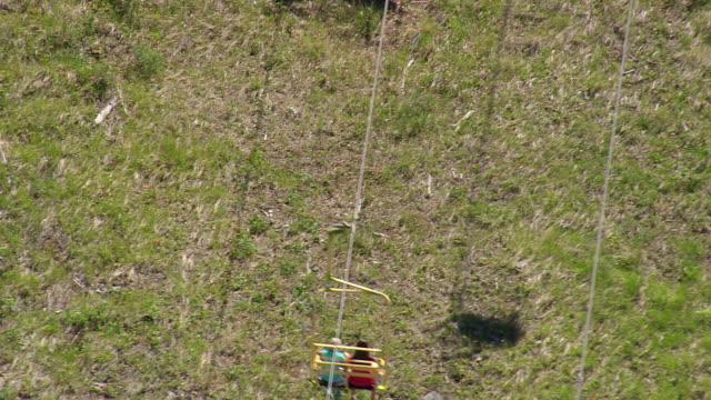 MS AERIAL TU Shot of Ski lifts / Wyoming, United States