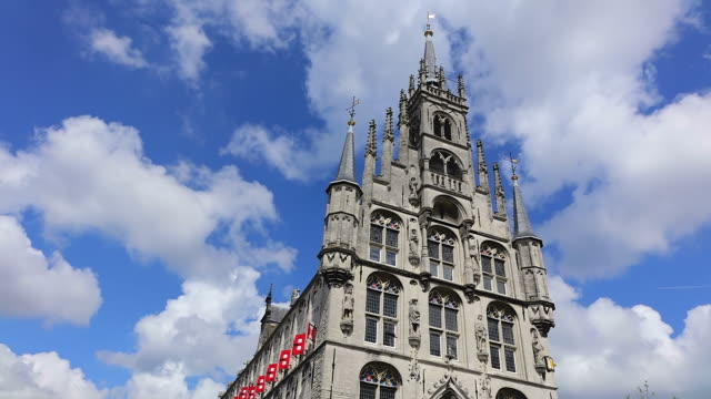 WS LA Shot of sky moving over City Hall at Market Square / Gouda, South Holland, Netherlands