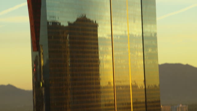 WS TD Shot of sky skyscraper in city at dusk / Las Vegars, United States
