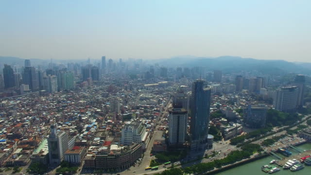 WS AERIAL shot of Skyline of Xiamen/Xiamen,Fujian,China