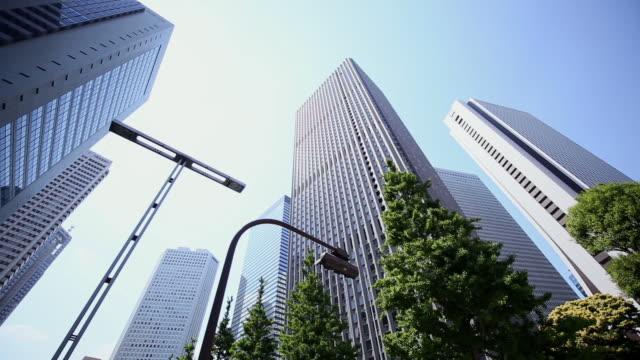 MS PAN Shot of skyscraper at district of West Shinjuku / Shinjuku ku, Tokyo, Japan