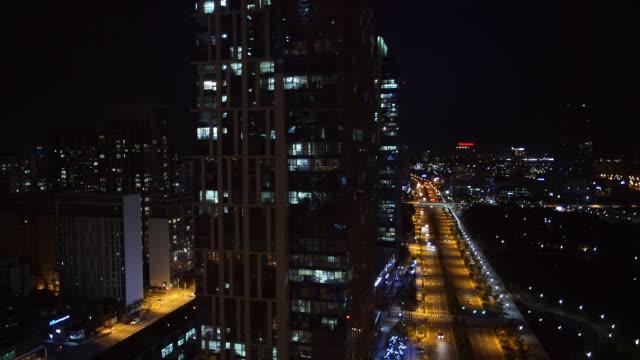CU AERIAL ZO Shot of skyscraper of Songdo new town / Incheon, South Korea