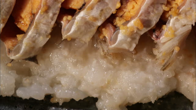 shot of sliced carp funazushi (fermented sushi) on a plate, japan - fermenting stock videos and b-roll footage