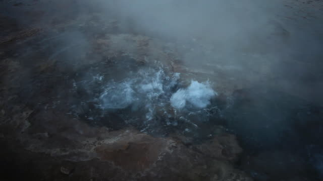 MS Shot of small geyser / Geiser del Tatio, Atacama desert, Chile