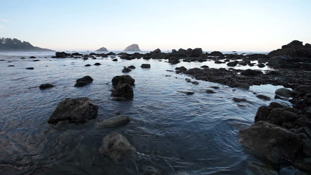 WS PAN Shot of small waves coming into tidal pool and rocks on ocean beach / Crescent City, California, California, United States
