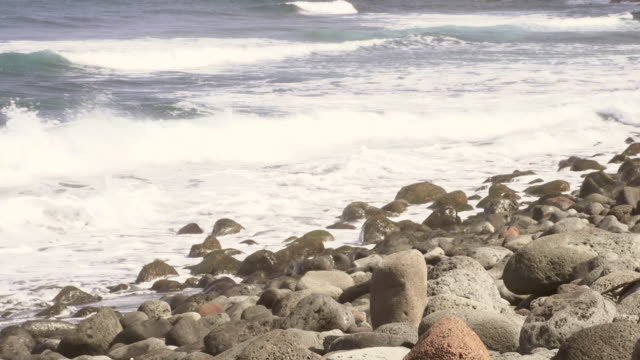 ms shot of small waves rolling in over rocky beach / kauai, hawaii, united states - wiese stock videos & royalty-free footage