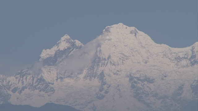 WS Shot of Snow covered Peaks of Annapurna Mountain Range / Pokhara, Nepal