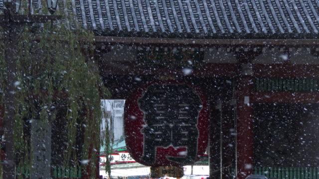 CU Shot of Snow falling at Kaminarimon / Tokyo, Japan