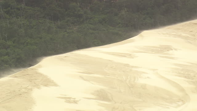 ms aerial shot of soil storm and man walking at dune du pilat / aquitaine, france - dune of pilat stock videos and b-roll footage