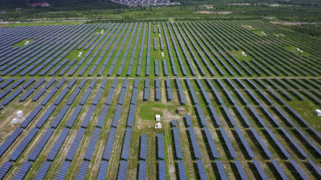 shot of solar power plant / beijing, china - solar power station stock videos and b-roll footage