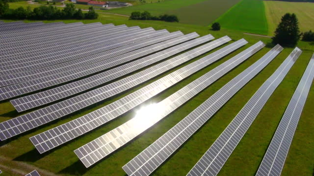 MS AERIAL Shot of solar power plant / Munich, Bavaria, Germany