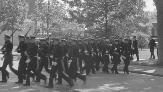 ms shot of soldiers marching in dress parade at annapolis - 陸軍点の映像素材/bロール