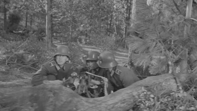 ms pov shot of soldiers pointed machine gun nest during battle  - nazism stock videos & royalty-free footage