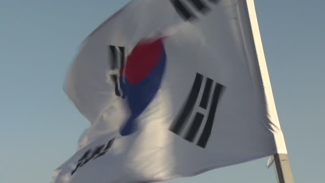 shot of south korean flag waving - south korean flag stock videos & royalty-free footage