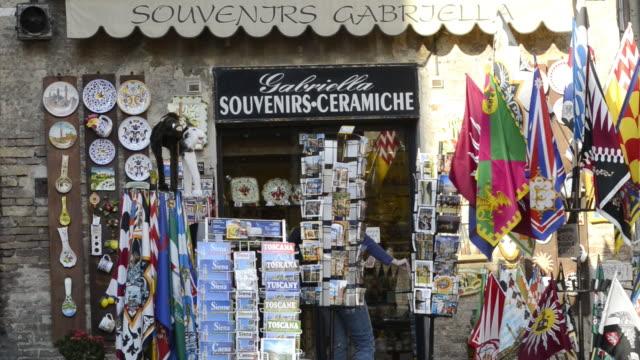 MS Shot of souvenir shop / Siena, Tuscany, Italy