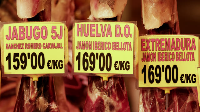 CU TD Shot of Spanish jamon ibérico sign with prices to ham / Barcelona, Catalunya, Spain