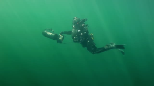 vídeos de stock e filmes b-roll de ms ts shot of special operation forces combat diver with dvp diver propulsion vehicle during underwater operation / open water - soldado exército